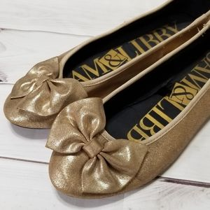 Sam & Libby Metallic Gold Big Bow Slip On Flats